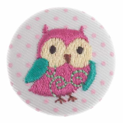 Round Embroidered Owl Shank Button 32mm