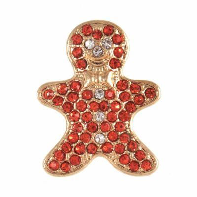 Christmas Buttons - Diamante Gingerbread Man - 21mm Wide