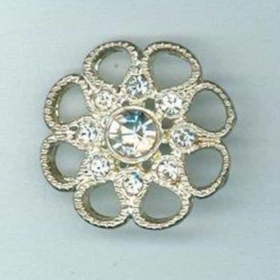 Ornate Diamante Nickel Button 28mm
