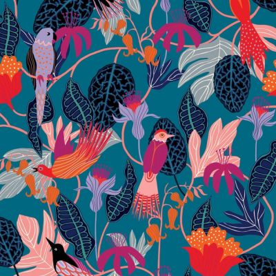 Viscose - Dashwood - Gardenia - Exotic Birds Blue