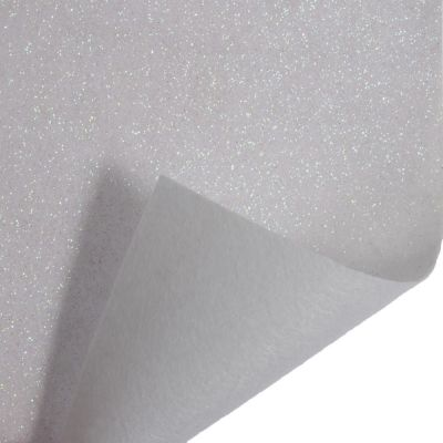 Glitter Acrylic Craft Felt Fabric 90cm Wide - White
