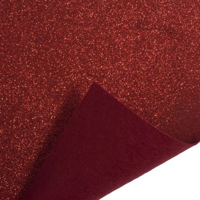 Glitter Acrylic Craft Felt Fabric 90cm Wide - Red