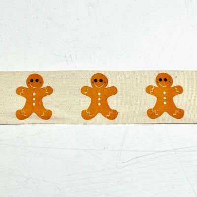 Novelty Natural Ribbon - Gingerbread - 25mm