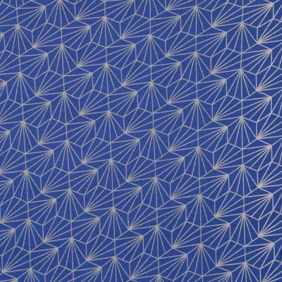 Viscose Jersey - Metallic Glitter Geometric Shells On Blue
