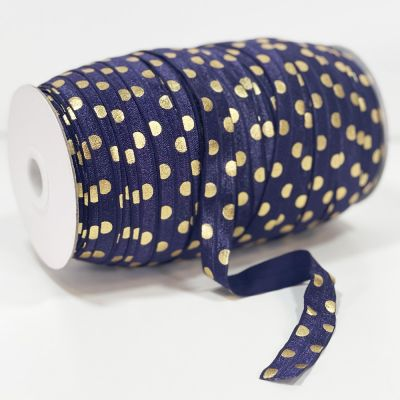 Fold Over Elastic 16mm Wide - Gold Metallic Dots On Navy