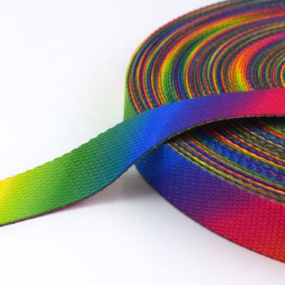 Multicoloured Graded Rainbow Canvas Webbing - 25mm Wide