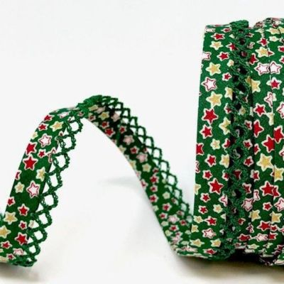 Byesta Fany Lace Edge Stars On Green Christmas Bias Binding - 12mm Wide