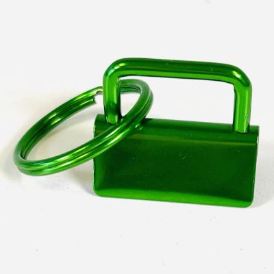 Key Ring - Metal Key Fob Hardware Clasp With Split Ring - 25mm - Green Colour