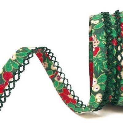 Byesta Fany Lace Edge Poinsettia On Green Christmas Bias Binding - 12mm Wide