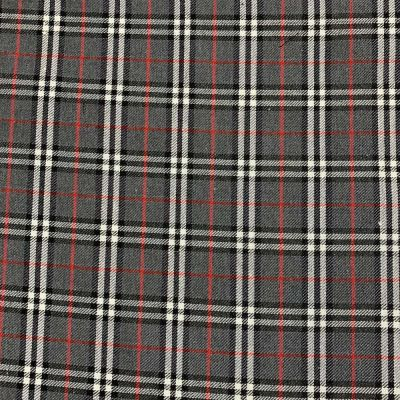 Polyester Viscose Tartan Fabric - Grey White And Red