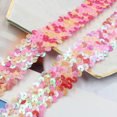 Multicoloured Stretch Sequin Trim - 30mm Wide - Pinks