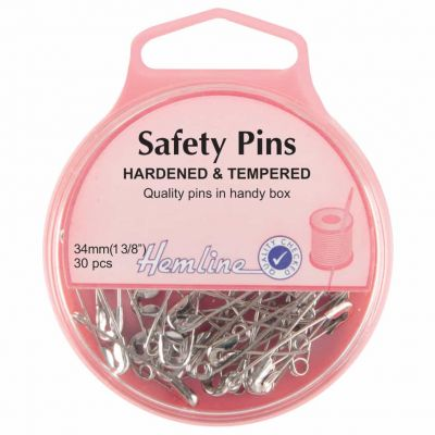 Hemline Hardened And Tempered Safety Pins 34mm 30pcs