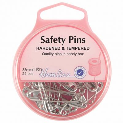 Hemline Hardened And Tempered Safety Pins 38mm 24pcs