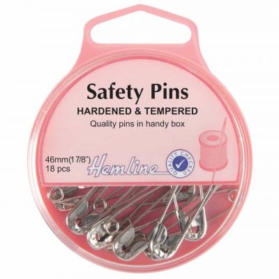 Hemline Hardened And Tempered Safety Pins 46mm 18pcs
