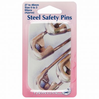 Hemline Safety Pins Extra Value Assorted Sizes 60pcs With Slide Top Tin