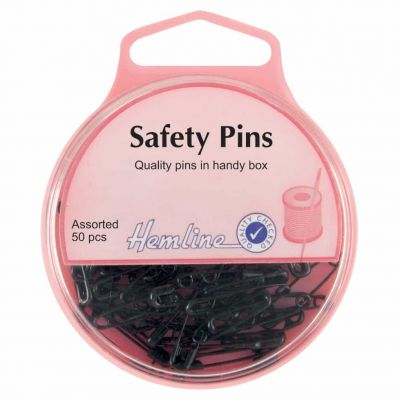 Hemline Safety Pins Assorted Sizes 50pcs - Black