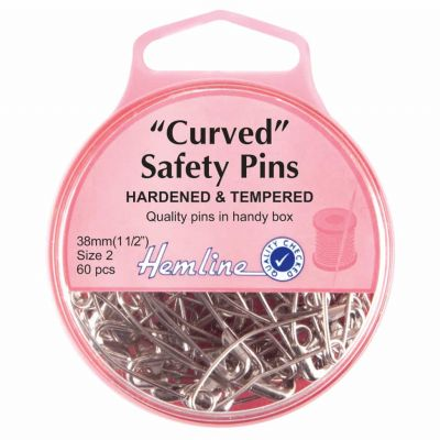 Hemline Hardened And Tempered Curved Safety Pins 38mm 60pcs