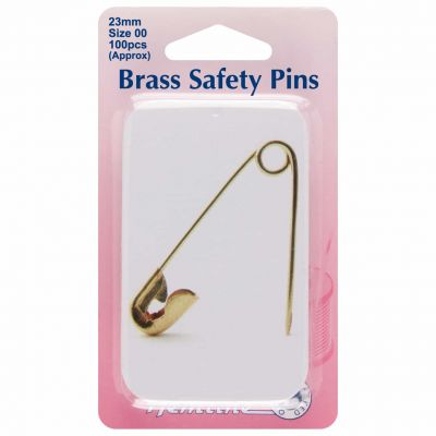 Hemline Safety Pins 23mm Extra Value Pack 100pcs - Brass With Slide Top Tin