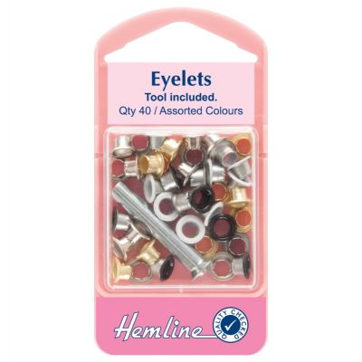 Hemline Assorted Eyelet Pack With Tool - 5.5mm - 40 Pack