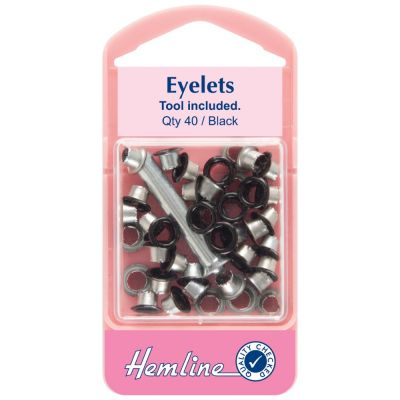 Hemline Black Eyelet Pack With Tool - 5.5mm - 40 Pack