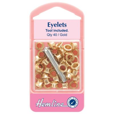 Hemline Gold Eyelet Pack With Tool - 5.5mm - 40 Pack