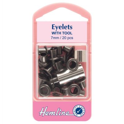 Hemline Black Eyelet Pack With Tool - 7mm - 20 Pack