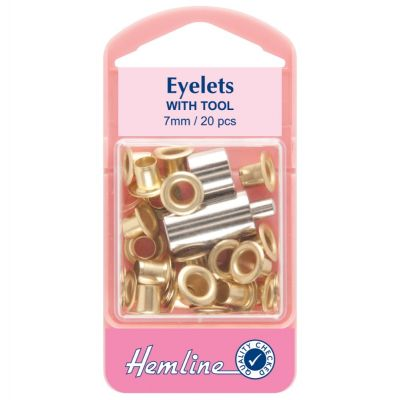 Hemline Brass Eyelet Pack With Tool - 7mm - 20 Pack