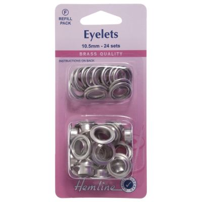 Hemline Nickel Eyelet Refill Pack - 10.5mm - 24 Pack