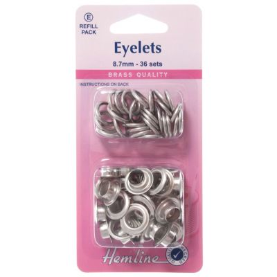 Hemline Nickel Eyelet Refill Pack - 8.7mm - 36 Pack