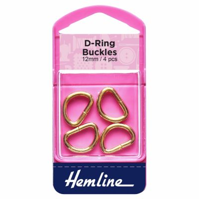 Hemline 12mm D Ring Gold - 4 Pack