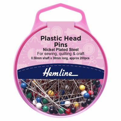 Hemline Plastic Head Nickle Pins 34mm Extra Value Pack 200pcs