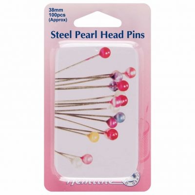 Hemline Pearl Head Nickle Plated Steel Pins Pin Wheel 38mm 100pcs - Assorted With Slide Top Tin