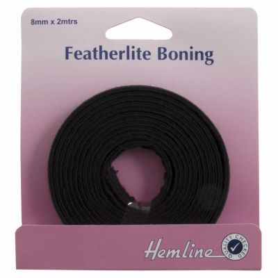 Hemline Featherlite Boning - Black - 2m x 8mm