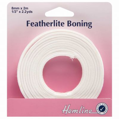 Hemline Featherlite Boning - White - 2m x 8mm