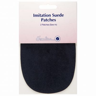 Sew-in Imitation Suede Patches: Navy - 10 x 15cm