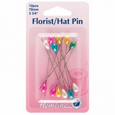 Hemline Florist/Hat Pins 70mm 12pcs - Multicoloured