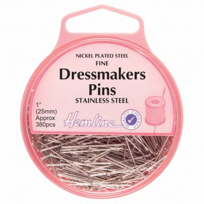 Hemline Stainless Steel Dressmaking Extra Fine Pins 26mm, 380pcs