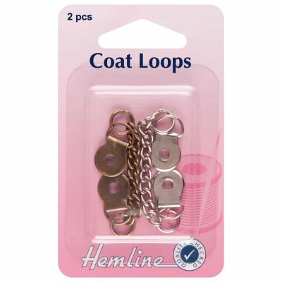 Metal Chain Coat Loops Brass / Nickle 2 Pack