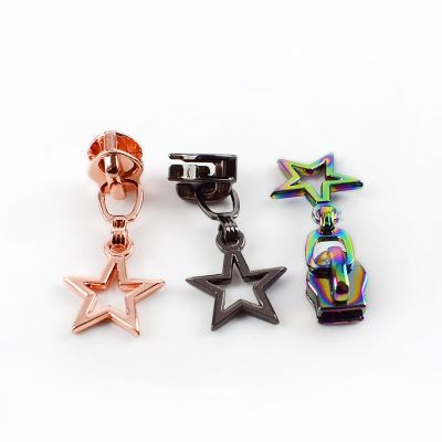Metal Replacement Zip Pull - For #5 Nylon Zips - Rainbow Star Metal Pull
