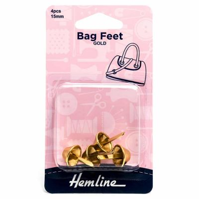 Hemline Bag Feet - 15mm Gold - 4 Pack