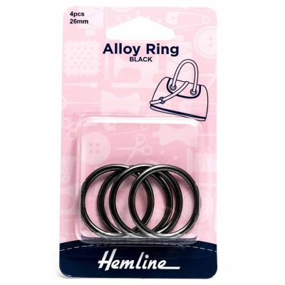 Hemline Alloy Rings - 26mm Nickel Black - 4 Pack