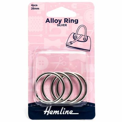 Hemline Alloy Rings - 26mm Nickel - 4 Pack