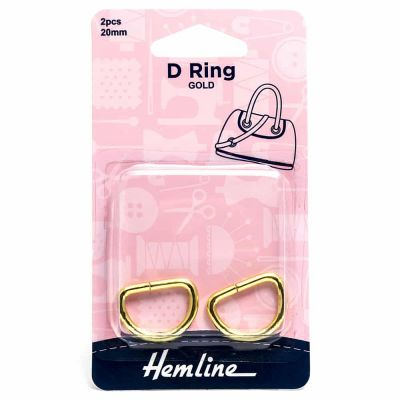 Hemline D Ring - 20mm Gold - 2 Pack