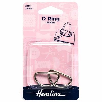 Hemline D Ring - 25mm Nickel - 2 Pack
