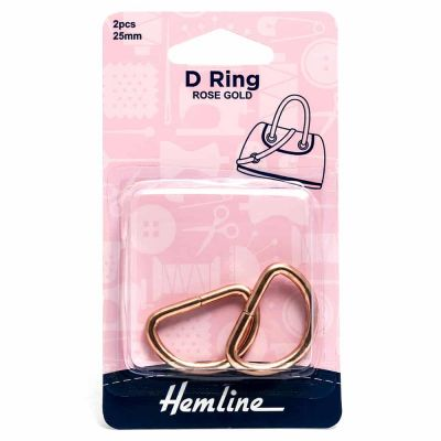Hemline D Ring - 25mm Rose Gold - 2 Pack