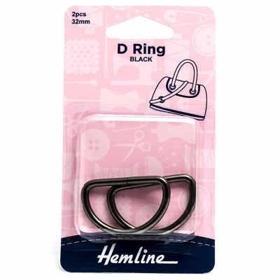 Hemline D Ring - 32mm Nickel Black - 2 Pack
