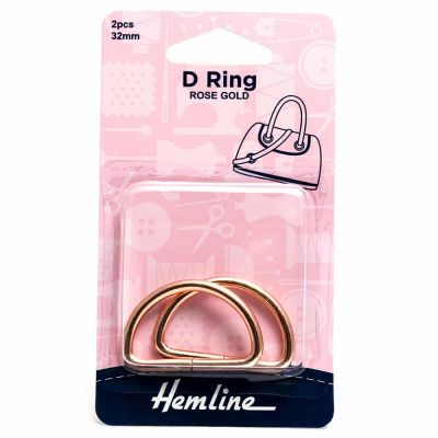 Hemline D Ring - 32mm Gold - 2 Pack