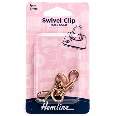 Hemline Swivel Clip - 13mm Rose Gold - 2 Pack
