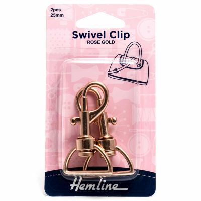 Hemline Swivel Clip - 25mm Rose Gold - 2 Pack