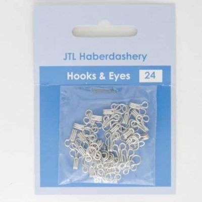 24 Sets Of Rustless Hook & Eye Fasteners - Size 2 - Silver Brass